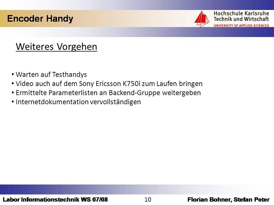 Weiteres Vorgehen Warten auf Testhandys Video auch auf dem Sony Ericsson K750i zum Laufen bringen Ermittelte Parameterlisten an Backend-Gruppe weiterg