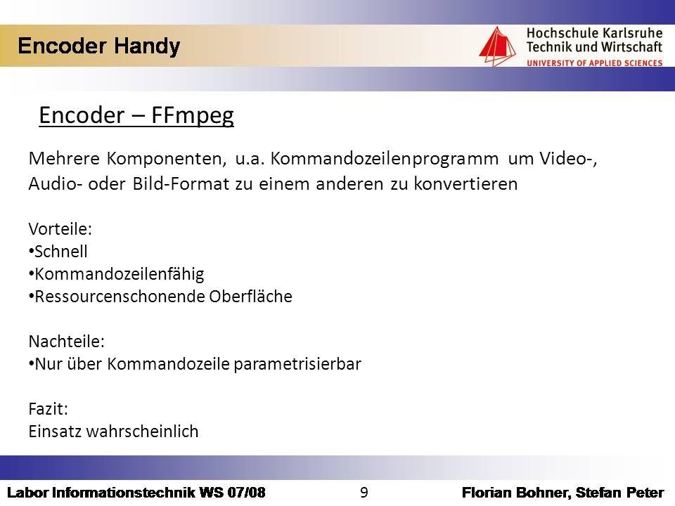 Encoder – FFmpeg Mehrere Komponenten, u.a. Kommandozeilenprogramm um Video-, Audio- oder Bild-Format zu einem anderen zu konvertieren Vorteile: Schnel