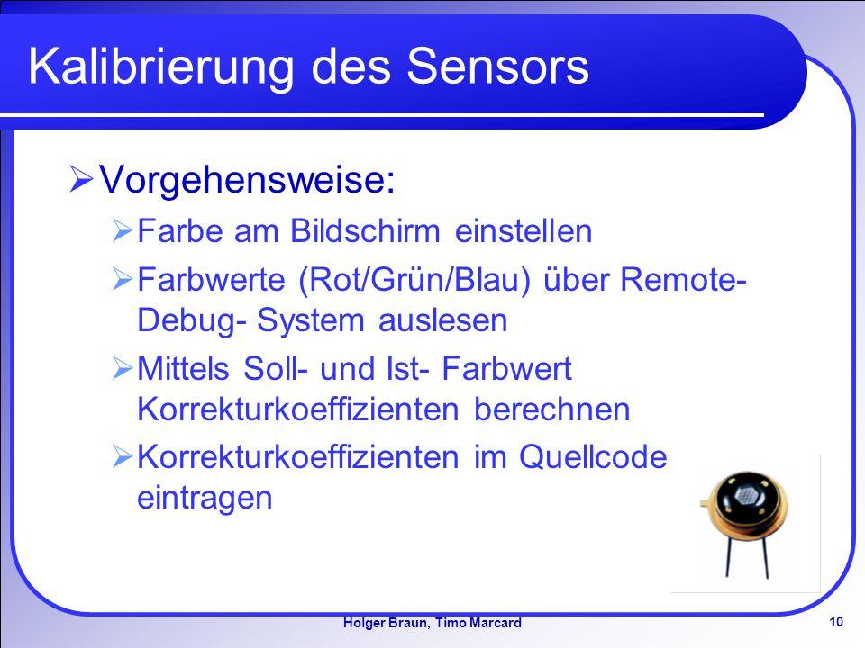 10 Holger Braun, Timo Marcard Kalibrierung des Sensors Vorgehensweise: Farbe am Bildschirm einstellen Farbwerte (Rot/Grün/Blau) über Remote- Debug- System auslesen Mittels Soll- und Ist- Farbwert Korrekturkoeffizienten berechnen Korrekturkoeffizienten im Quellcode eintragen