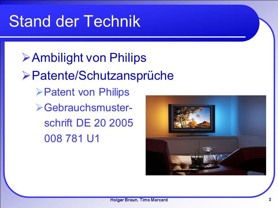 3 Holger Braun, Timo Marcard Stand der Technik Ambilight von Philips Patente/Schutzansprüche Patent von Philips Gebrauchsmuster- schrift DE 20 2005 008 781 U1
