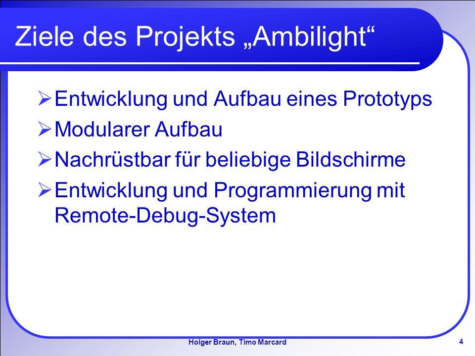 4 Holger Braun, Timo Marcard Ziele des Projekts Ambilight Entwicklung und Aufbau eines Prototyps Modularer Aufbau Nachrüstbar für beliebige Bildschirme Entwicklung und Programmierung mit Remote-Debug-System