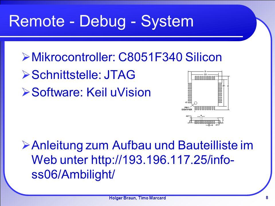 8 Holger Braun, Timo Marcard Remote - Debug - System Mikrocontroller: C8051F340 Silicon Schnittstelle: JTAG Software: Keil uVision Anleitung zum Aufbau und Bauteilliste im Web unter http://193.196.117.25/info- ss06/Ambilight/