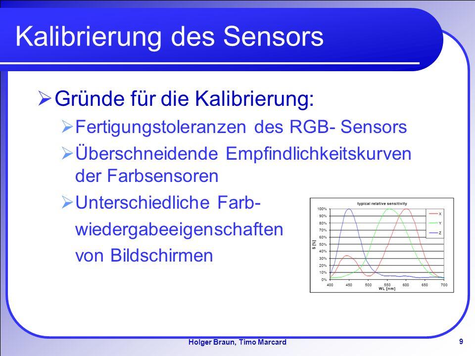9 Holger Braun, Timo Marcard Kalibrierung des Sensors Gründe für die Kalibrierung: Fertigungstoleranzen des RGB- Sensors Überschneidende Empfindlichkeitskurven der Farbsensoren Unterschiedliche Farb- wiedergabeeigenschaften von Bildschirmen
