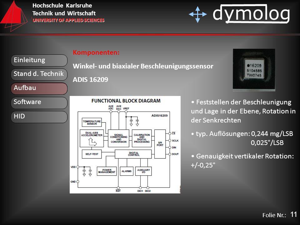 Hochschule Karlsruhe Technik und Wirtschaft UNIVERSITY OF APPLIED SCIENCES dymolog Folie Nr.: Einleitung Aufbau Stand d. Technik Komponenten: Winkel-