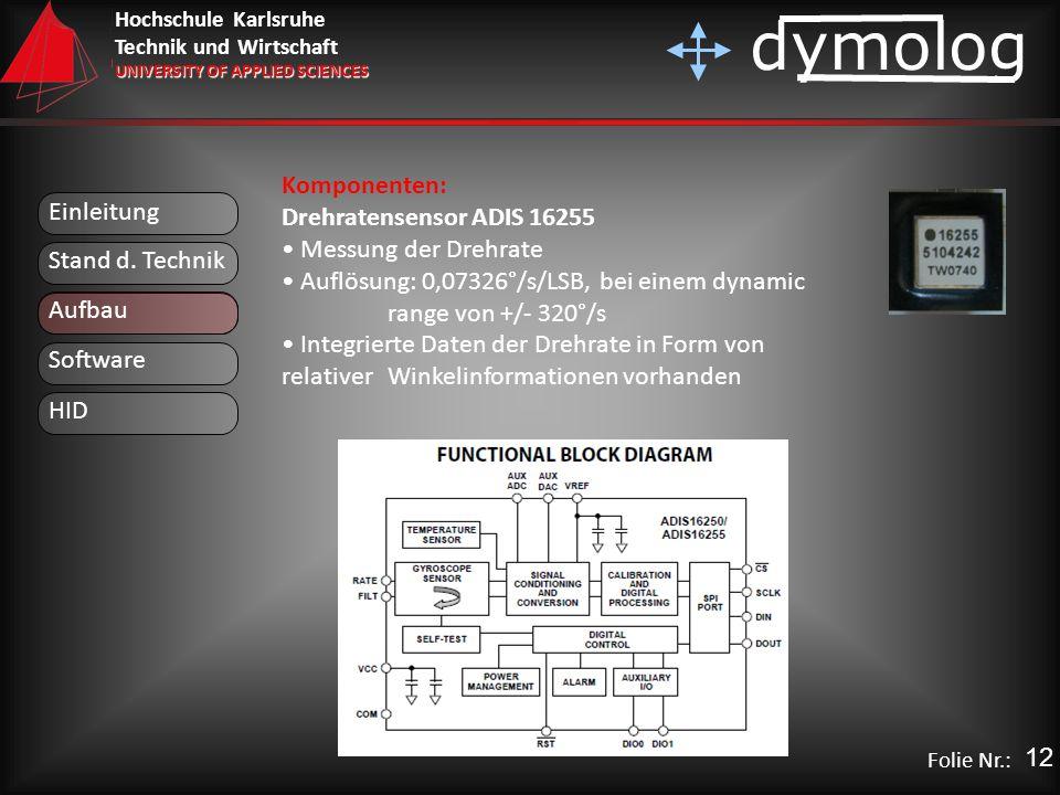 Hochschule Karlsruhe Technik und Wirtschaft UNIVERSITY OF APPLIED SCIENCES dymolog Folie Nr.: Einleitung Aufbau Stand d. Technik Komponenten: Drehrate