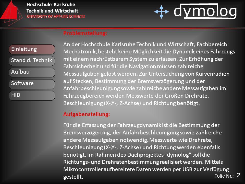 Hochschule Karlsruhe Technik und Wirtschaft UNIVERSITY OF APPLIED SCIENCES dymolog Folie Nr.: Einleitung Problemstellung: An der Hochschule Karlsruhe