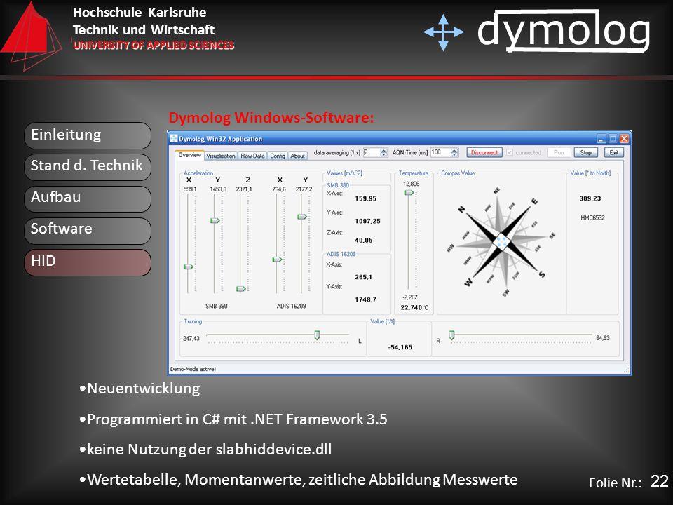 Hochschule Karlsruhe Technik und Wirtschaft UNIVERSITY OF APPLIED SCIENCES dymolog Folie Nr.: Einleitung Aufbau Stand d. Technik Software HID Dymolog