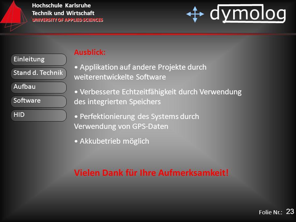 Hochschule Karlsruhe Technik und Wirtschaft UNIVERSITY OF APPLIED SCIENCES dymolog Folie Nr.: Einleitung Aufbau Stand d. Technik Software HID Ausblick