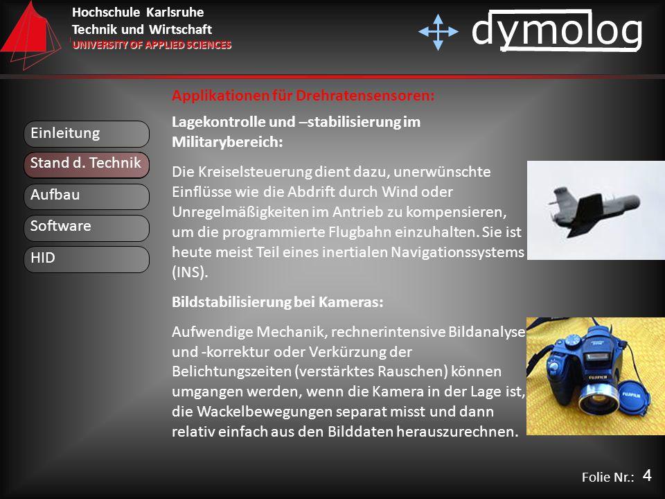 Hochschule Karlsruhe Technik und Wirtschaft UNIVERSITY OF APPLIED SCIENCES dymolog Folie Nr.: Einleitung Aufbau Stand d. Technik Lagekontrolle und –st