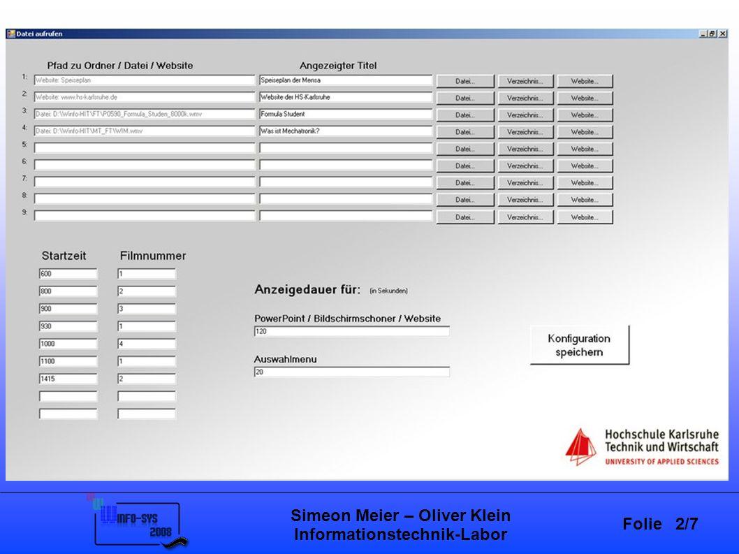 Folie 2/7 Simeon Meier – Oliver Klein Informationstechnik-Labor Stand der Technik Projektarbeit – Informationstechnik-Labor SS07