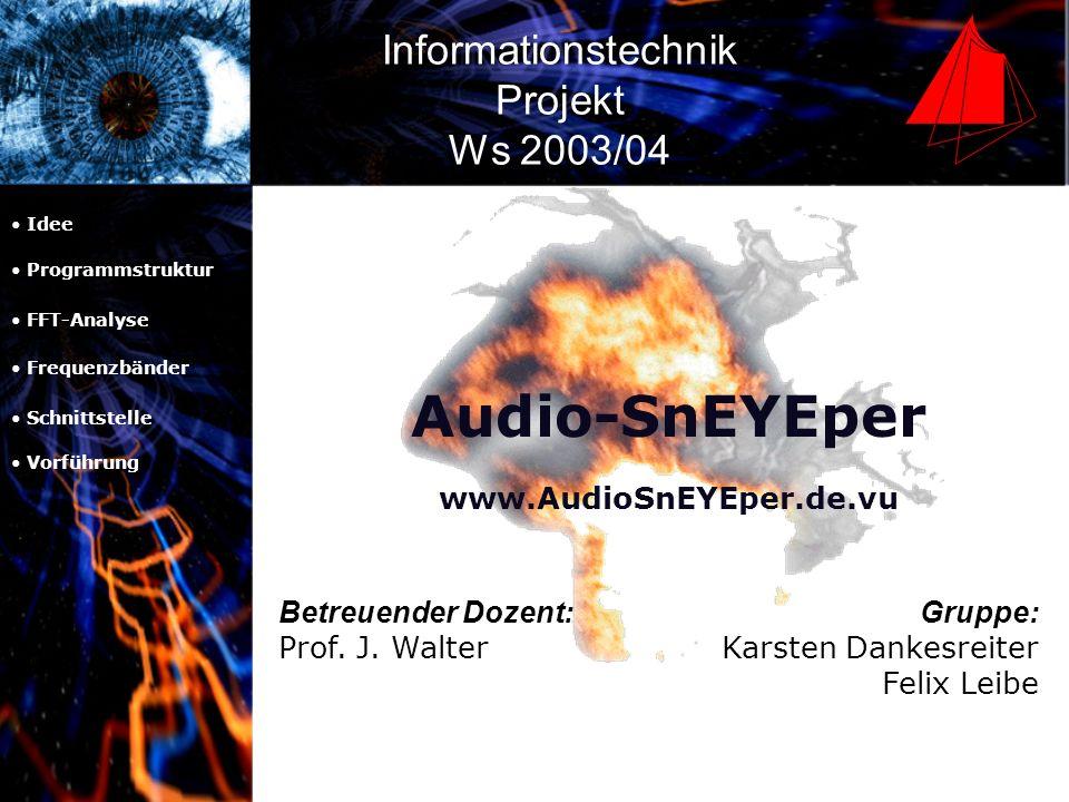 Audio-SnEYEper Idee Programmstruktur FFT-Analyse Frequenzbänder Schnittstelle Vorführung Entwicklung eines open-source tools zur Echtzeit- Visualisierung von Audiosignalen.