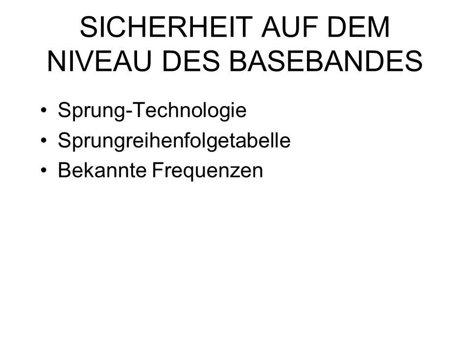 SICHERHEIT AUF DEM NIVEAU DES BASEBANDES Sprung-Technologie Sprungreihenfolgetabelle Bekannte Frequenzen