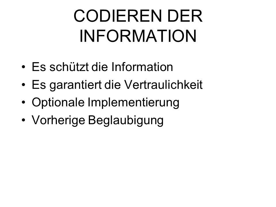 CODIEREN DER INFORMATION Es schützt die Information Es garantiert die Vertraulichkeit Optionale Implementierung Vorherige Beglaubigung