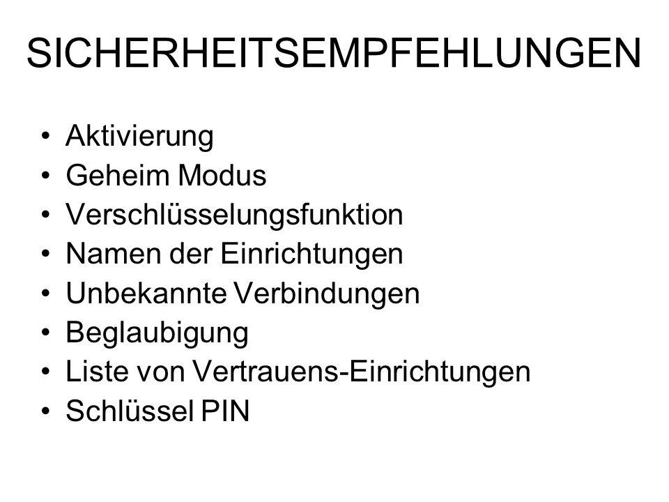 SICHERHEITSEMPFEHLUNGEN Aktivierung Geheim Modus Verschlüsselungsfunktion Namen der Einrichtungen Unbekannte Verbindungen Beglaubigung Liste von Vertr