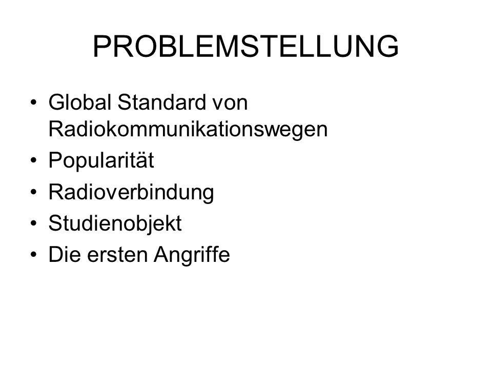PROBLEMSTELLUNG Global Standard von Radiokommunikationswegen Popularität Radioverbindung Studienobjekt Die ersten Angriffe