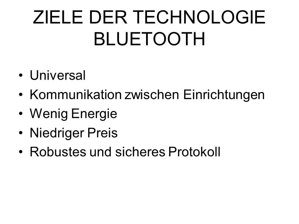 ZIELE DER TECHNOLOGIE BLUETOOTH Universal Kommunikation zwischen Einrichtungen Wenig Energie Niedriger Preis Robustes und sicheres Protokoll