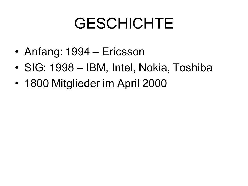 GESCHICHTE Anfang: 1994 – Ericsson SIG: 1998 – IBM, Intel, Nokia, Toshiba 1800 Mitglieder im April 2000