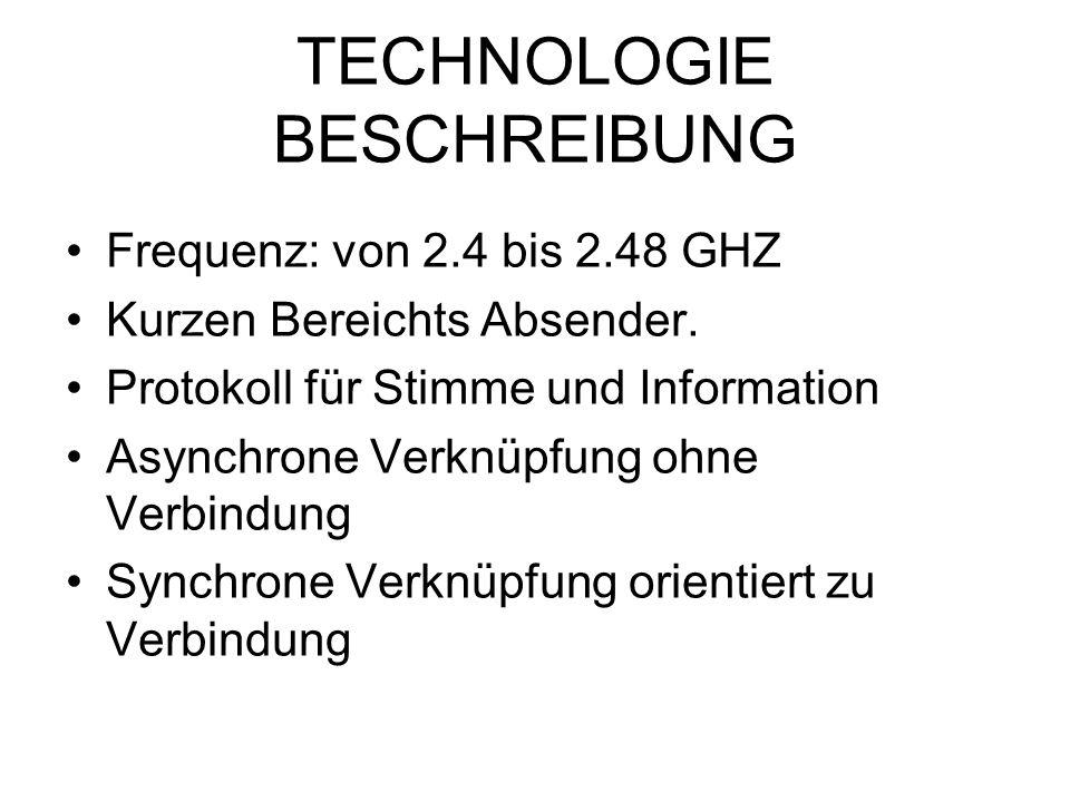 TECHNOLOGIE BESCHREIBUNG Frequenz: von 2.4 bis 2.48 GHZ Kurzen Bereichts Absender. Protokoll für Stimme und Information Asynchrone Verknüpfung ohne Ve