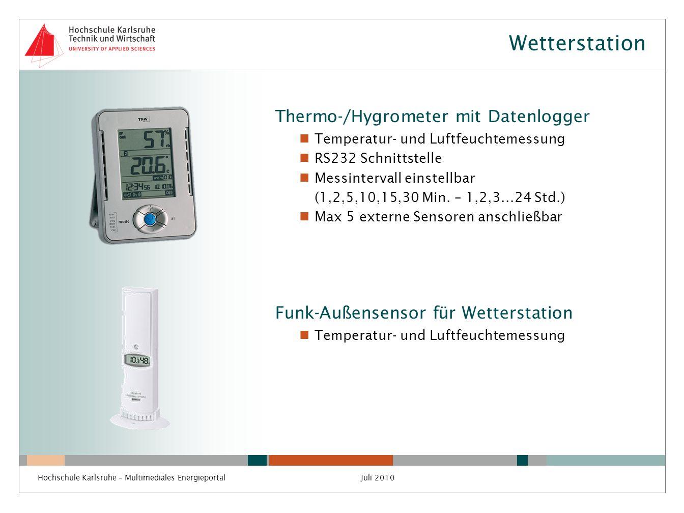 Wetterstation Thermo-/Hygrometer mit Datenlogger Temperatur- und Luftfeuchtemessung RS232 Schnittstelle Messintervall einstellbar (1,2,5,10,15,30 Min.