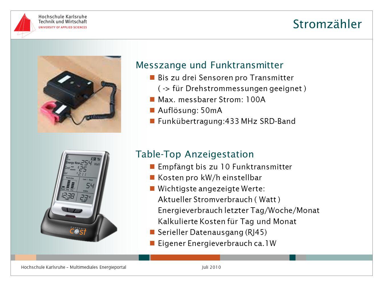 Stromzähler Messzange und Funktransmitter Bis zu drei Sensoren pro Transmitter ( -> für Drehstrommessungen geeignet ) Max. messbarer Strom: 100A Auflö