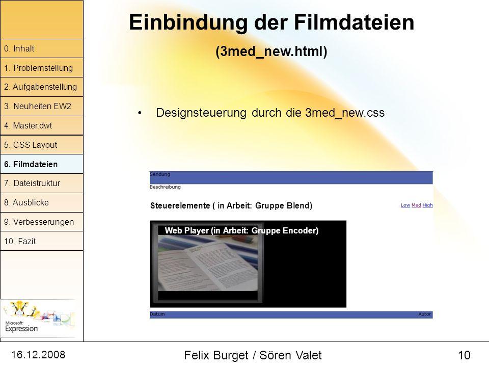 16.12.2008 Felix Burget / Sören Valet 10 Einbindung der Filmdateien (3med_new.html) 0. Inhalt 1. Problemstellung 2. Aufgabenstellung 4. Master.dwt 5.