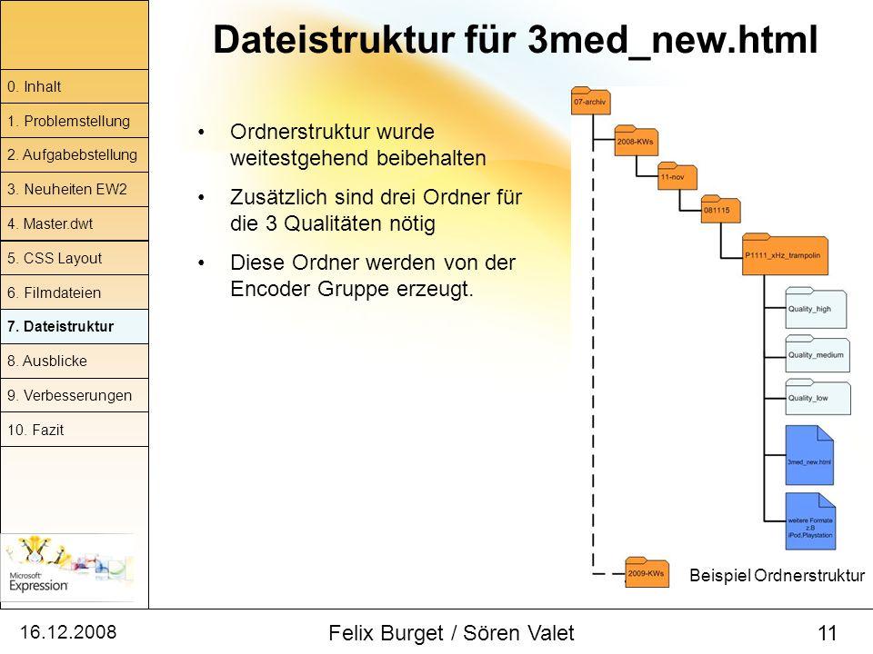 16.12.2008 Felix Burget / Sören Valet 11 Dateistruktur für 3med_new.html Ordnerstruktur wurde weitestgehend beibehalten Zusätzlich sind drei Ordner fü