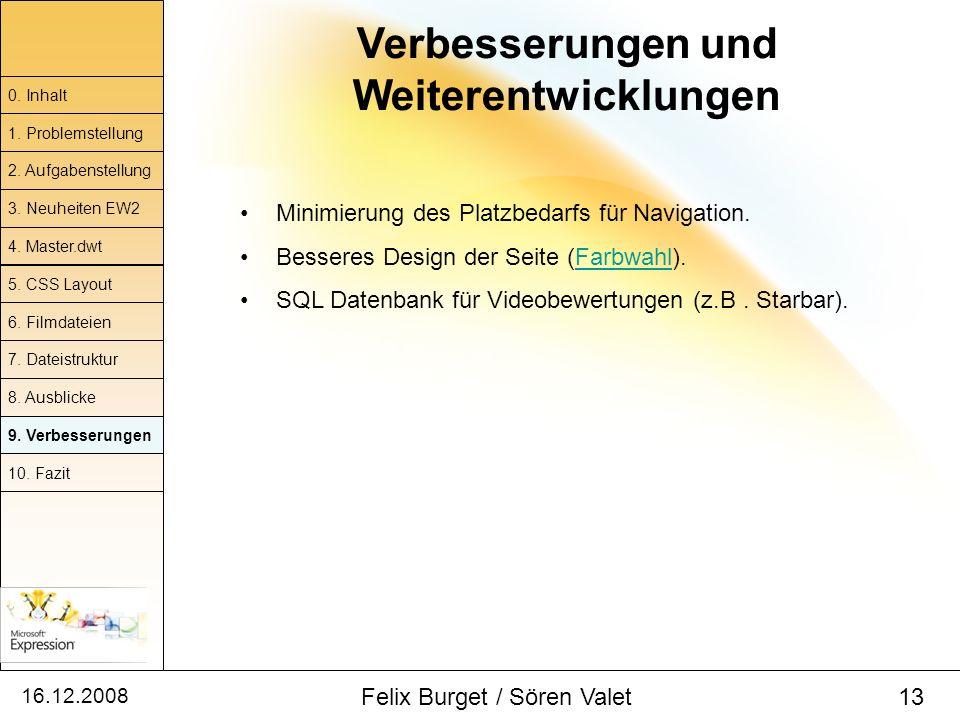 16.12.2008 Felix Burget / Sören Valet 13 Verbesserungen und Weiterentwicklungen 0. Inhalt 1. Problemstellung 2. Aufgabenstellung 4. Master.dwt 5. CSS