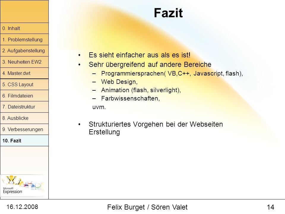 16.12.2008 Felix Burget / Sören Valet 14 Es sieht einfacher aus als es ist! Sehr übergreifend auf andere Bereiche –Programmiersprachen( VB,C++, Javasc