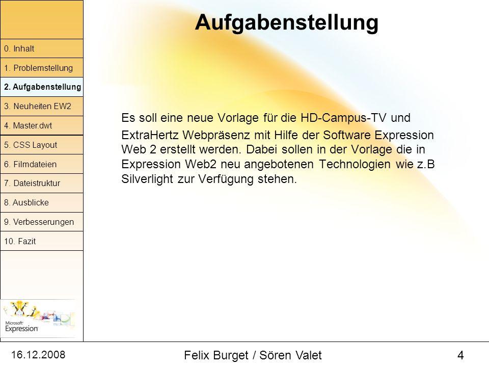 16.12.2008 Felix Burget / Sören Valet 4 Aufgabenstellung 0. Inhalt 1. Problemstellung 2. Aufgabenstellung 4. Master.dwt 5. CSS Layout 6. Filmdateien 7
