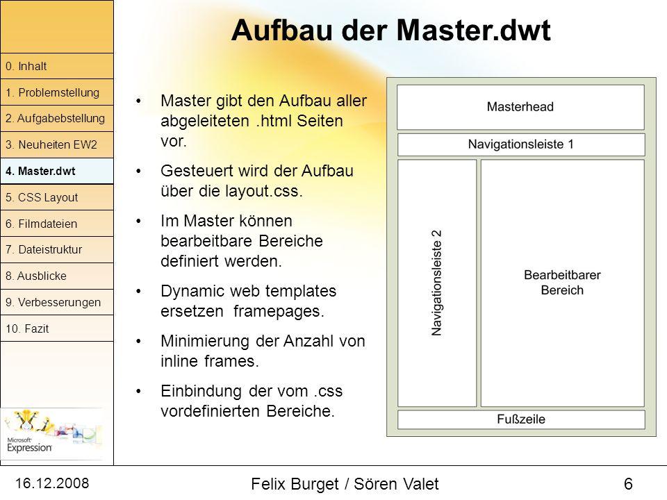 16.12.2008 Felix Burget / Sören Valet 6 Aufbau der Master.dwt Master gibt den Aufbau aller abgeleiteten.html Seiten vor. Gesteuert wird der Aufbau übe