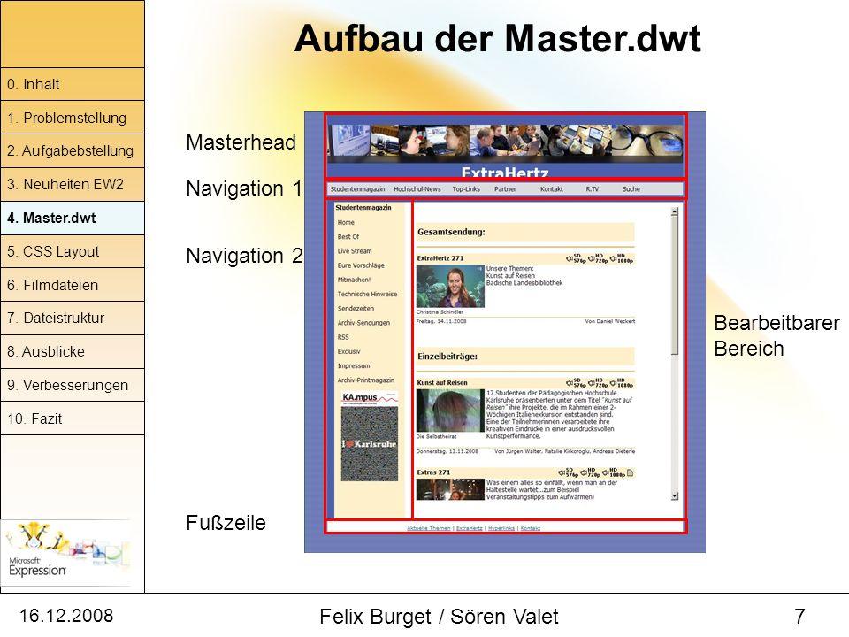 16.12.2008 Felix Burget / Sören Valet 7 Aufbau der Master.dwt 0. Inhalt 1. Problemstellung 2. Aufgabebstellung 4. Master.dwt 5. CSS Layout 6. Filmdate