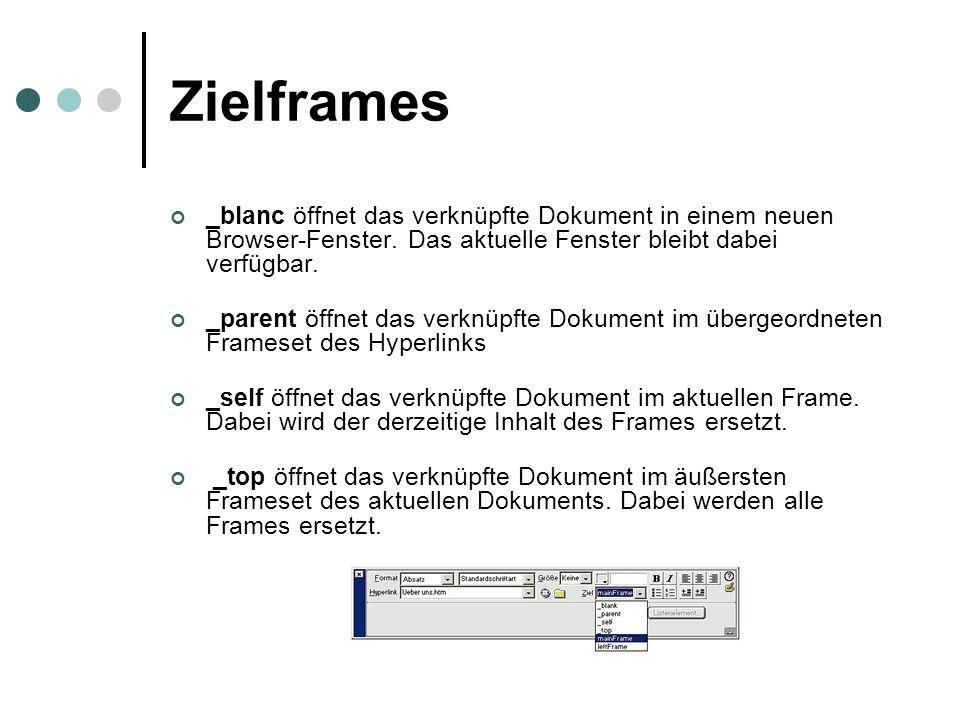 Zielframes _blanc öffnet das verknüpfte Dokument in einem neuen Browser-Fenster. Das aktuelle Fenster bleibt dabei verfügbar. _parent öffnet das verkn