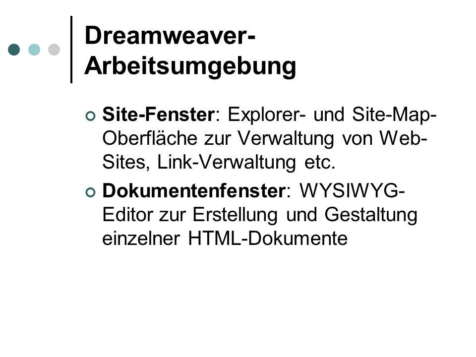 Dreamweaver- Arbeitsumgebung Site-Fenster: Explorer- und Site-Map- Oberfläche zur Verwaltung von Web- Sites, Link-Verwaltung etc. Dokumentenfenster: W