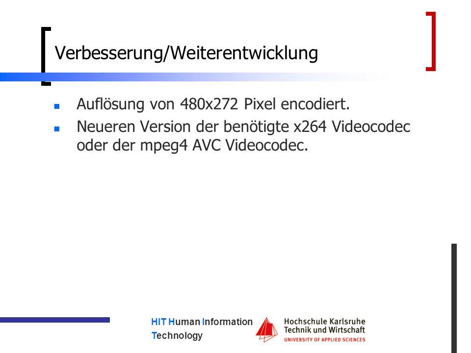 HIT Human Information Technology Verbesserung/Weiterentwicklung Auflösung von 480x272 Pixel encodiert.