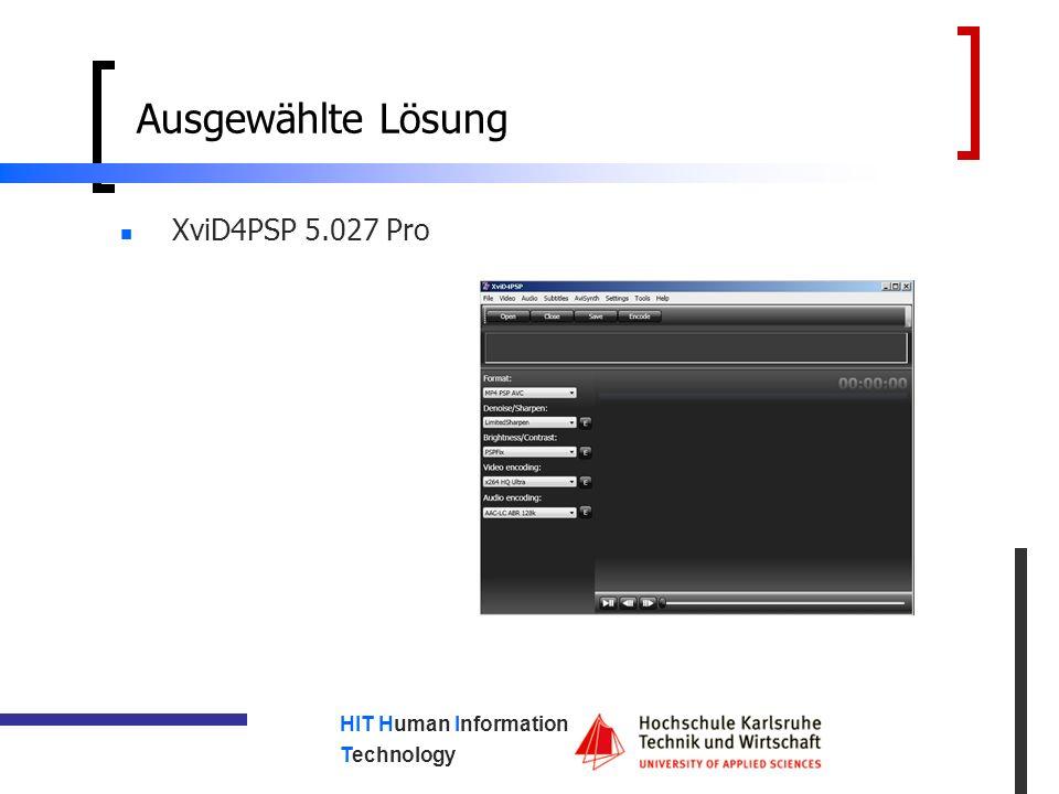 HIT Human Information Technology Ausgewählte Lösung XviD4PSP 5.027 Pro