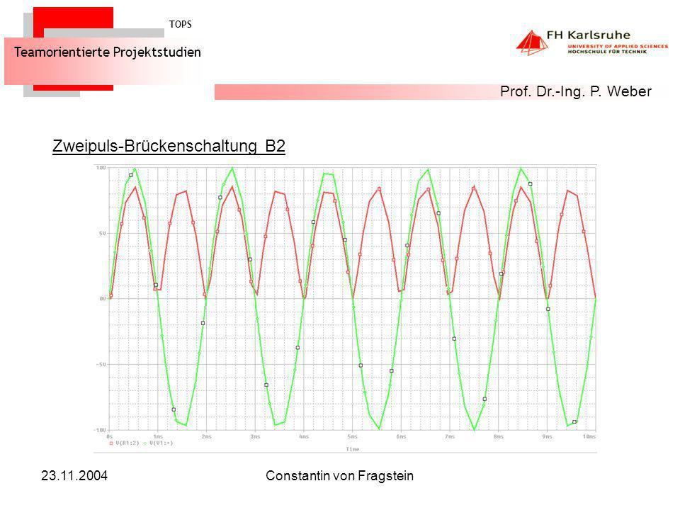 23.11.2004Constantin von Fragstein Spannungsverdoppler (Delon-Schaltung) D2 TOPS Teamorientierte Projektstudien Prof.