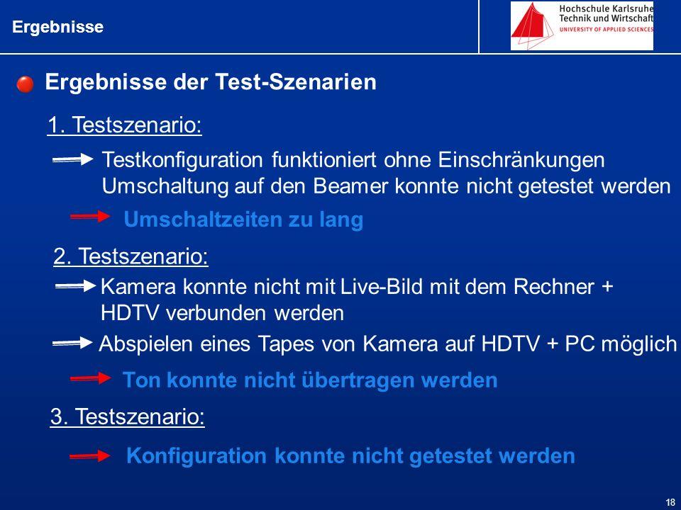Ergebnisse 18 1. Testszenario: Ergebnisse der Test-Szenarien 2. Testszenario: 3. Testszenario: Testkonfiguration funktioniert ohne Einschränkungen Ums