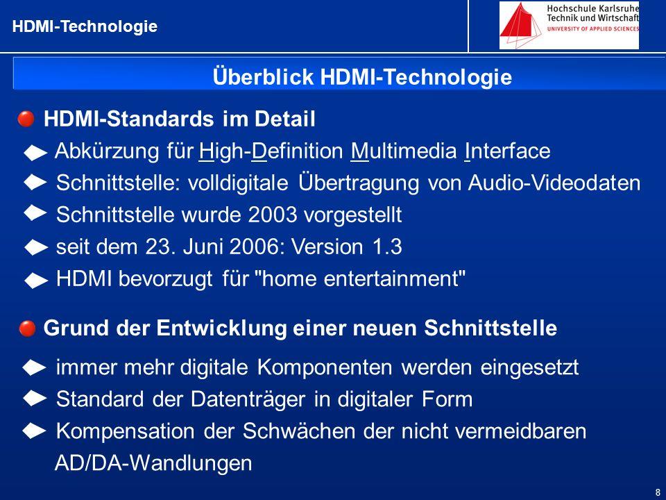HDMI-Technologie 8 Überblick HDMI-Technologie Grund der Entwicklung einer neuen Schnittstelle HDMI-Standards im Detail Abkürzung für High-Definition M