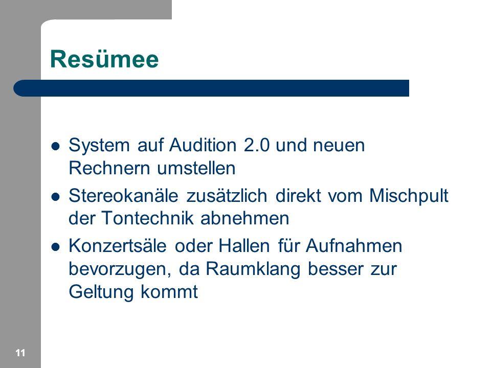 11 Resümee System auf Audition 2.0 und neuen Rechnern umstellen Stereokanäle zusätzlich direkt vom Mischpult der Tontechnik abnehmen Konzertsäle oder