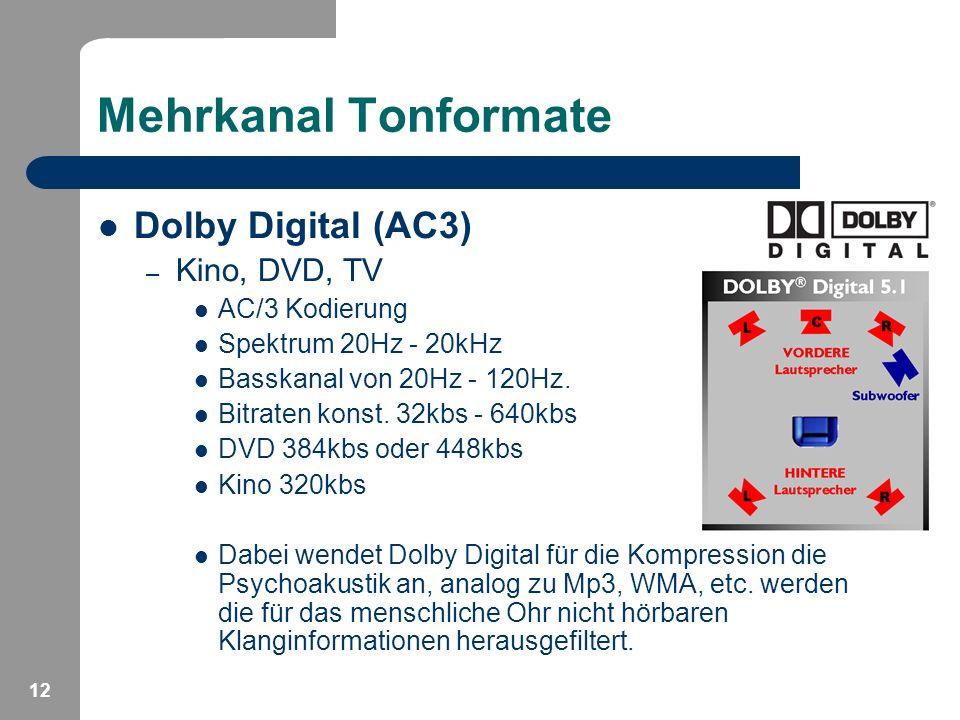 12 Mehrkanal Tonformate Dolby Digital (AC3) – Kino, DVD, TV AC/3 Kodierung Spektrum 20Hz - 20kHz Basskanal von 20Hz - 120Hz. Bitraten konst. 32kbs - 6