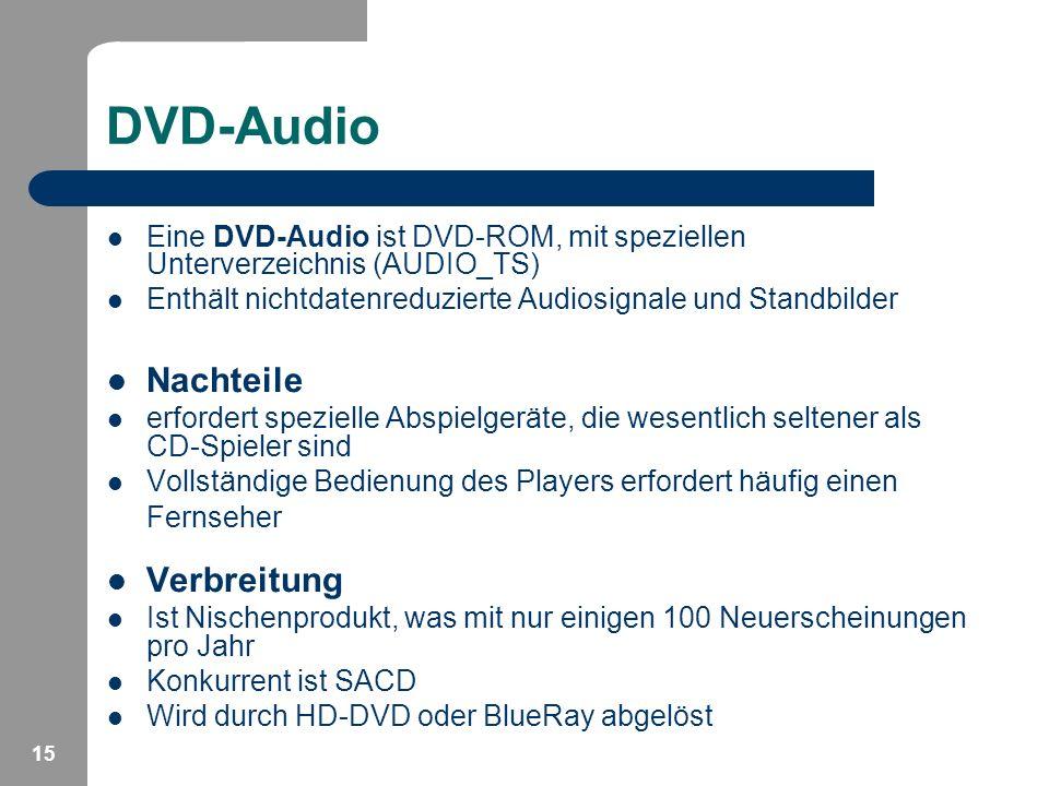 15 DVD-Audio Eine DVD-Audio ist DVD-ROM, mit speziellen Unterverzeichnis (AUDIO_TS) Enthält nichtdatenreduzierte Audiosignale und Standbilder Nachteil