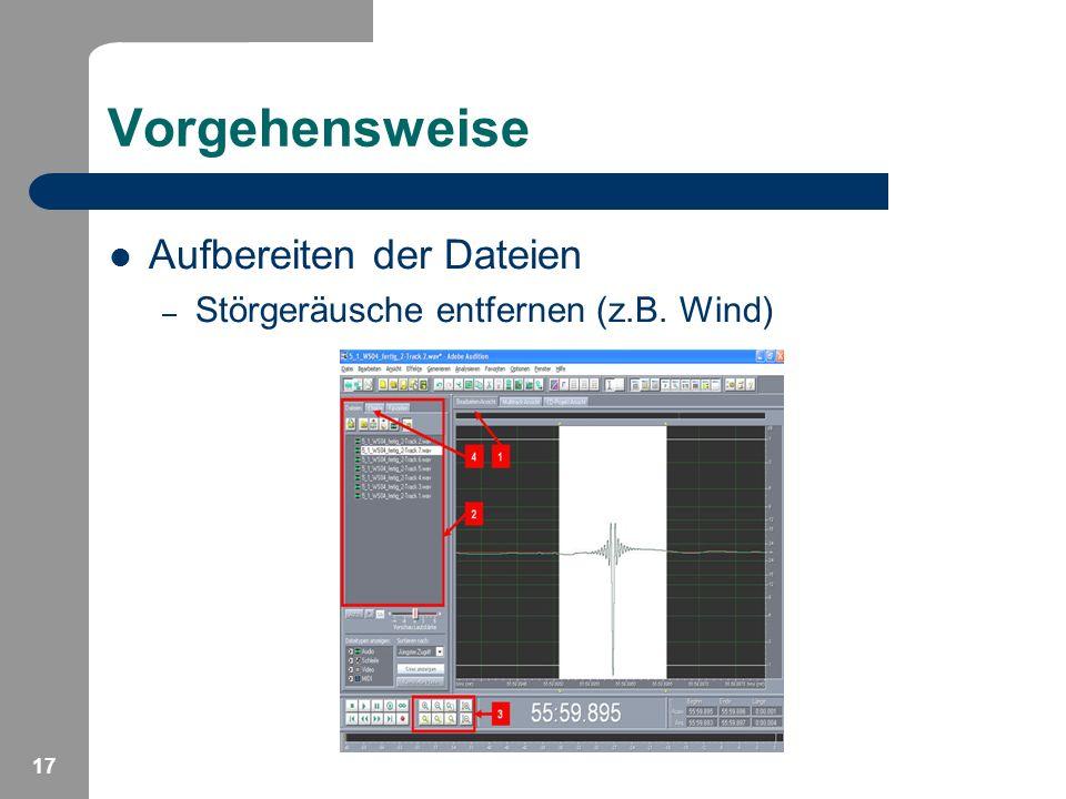 17 Vorgehensweise Aufbereiten der Dateien – Störgeräusche entfernen (z.B. Wind)