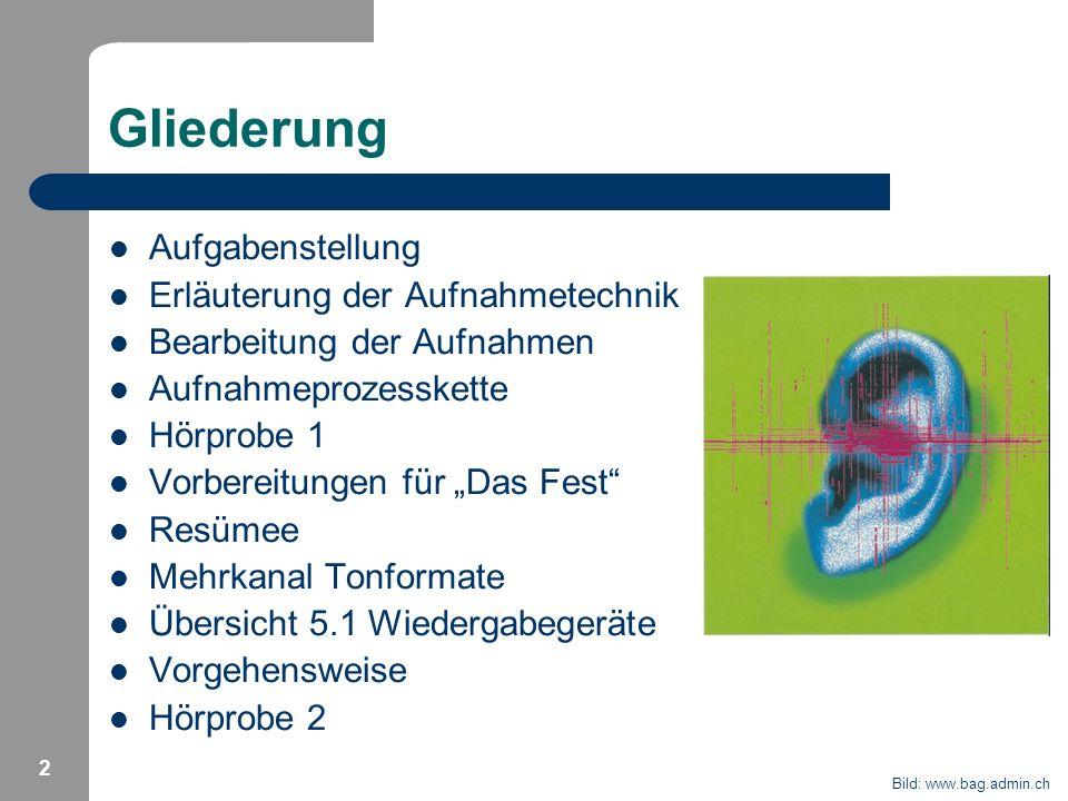 2 Gliederung Aufgabenstellung Erläuterung der Aufnahmetechnik Bearbeitung der Aufnahmen Aufnahmeprozesskette Hörprobe 1 Vorbereitungen für Das Fest Re