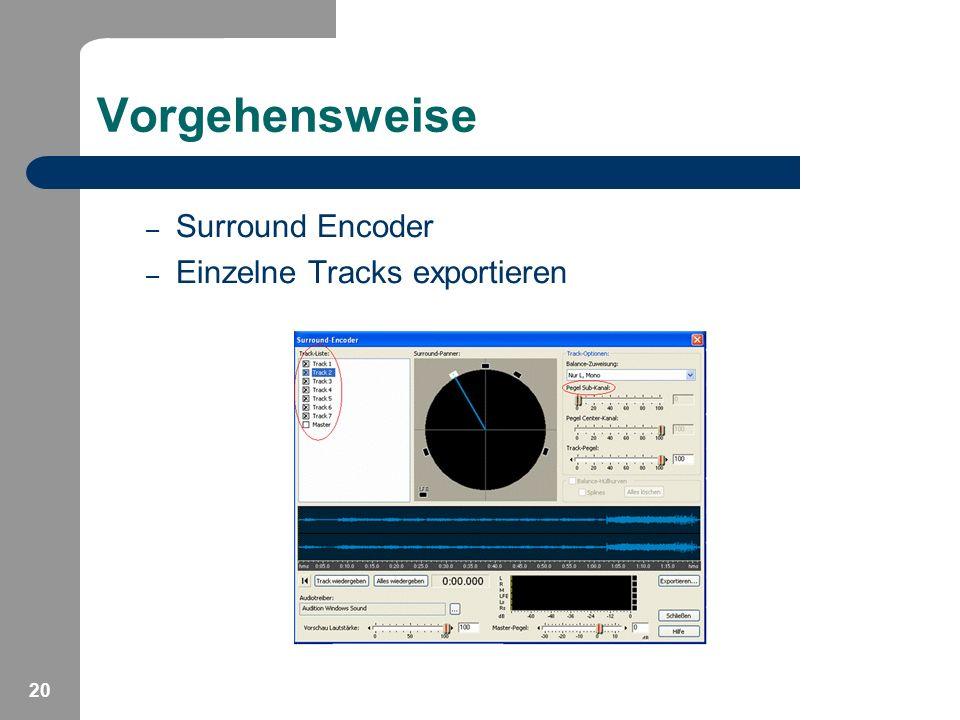 20 Vorgehensweise – Surround Encoder – Einzelne Tracks exportieren