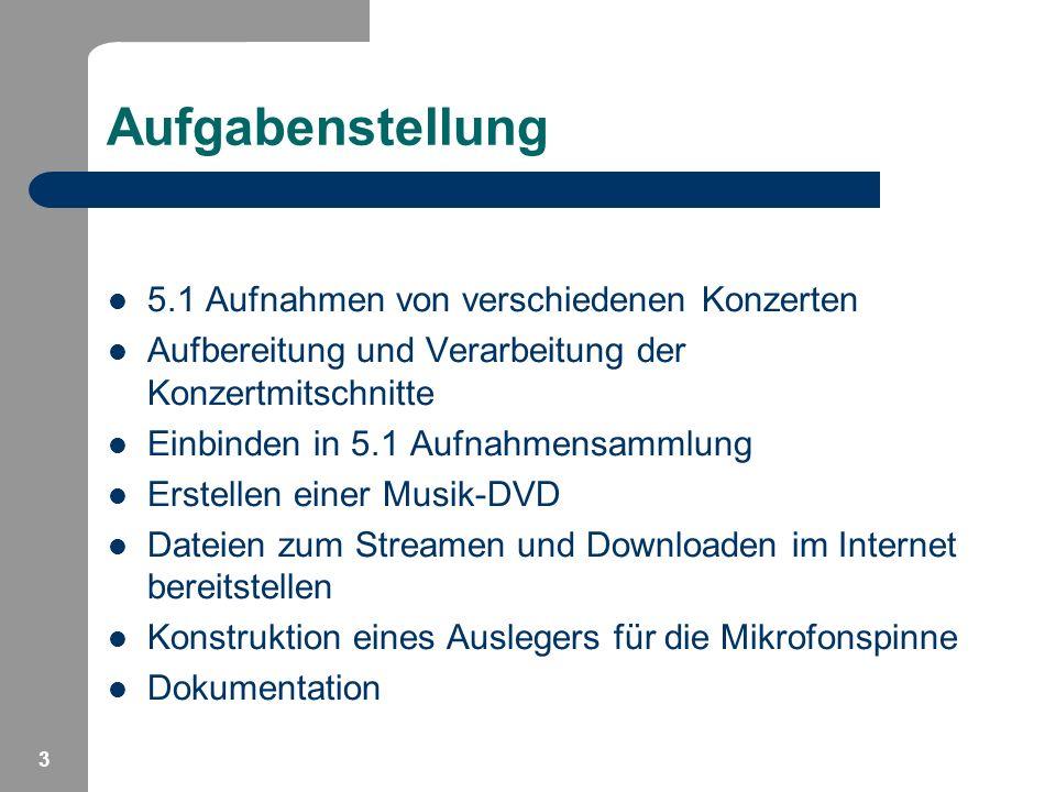 3 Aufgabenstellung 5.1 Aufnahmen von verschiedenen Konzerten Aufbereitung und Verarbeitung der Konzertmitschnitte Einbinden in 5.1 Aufnahmensammlung E