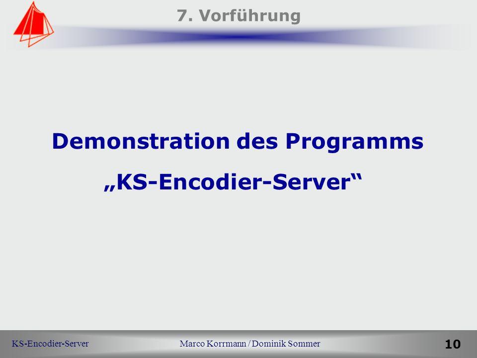 KS-Encodier-Server Marco Korrmann / Dominik Sommer 10 7. Vorführung Demonstration des Programms KS-Encodier-Server