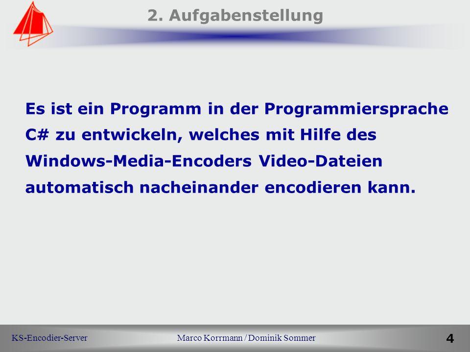 KS-Encodier-Server Marco Korrmann / Dominik Sommer 4 2. Aufgabenstellung Es ist ein Programm in der Programmiersprache C# zu entwickeln, welches mit H