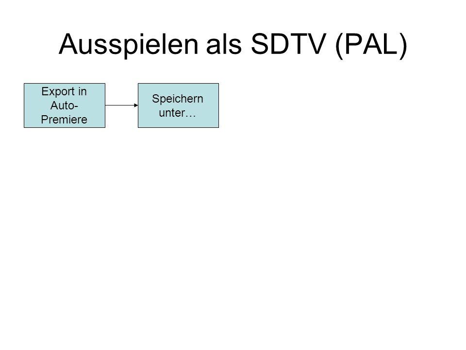 Ausspielen als SDTV (PAL) Export in Auto- Premiere Speichern unter…