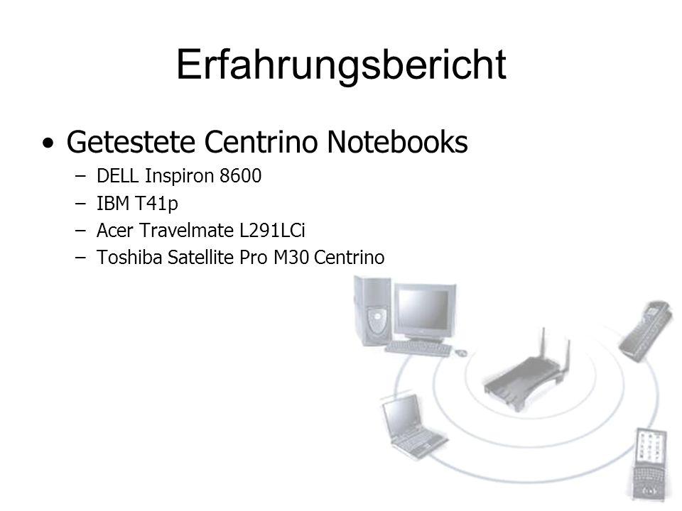Erfahrungsbericht Getestete Centrino Notebooks –DELL Inspiron 8600 –IBM T41p –Acer Travelmate L291LCi –Toshiba Satellite Pro M30 Centrino