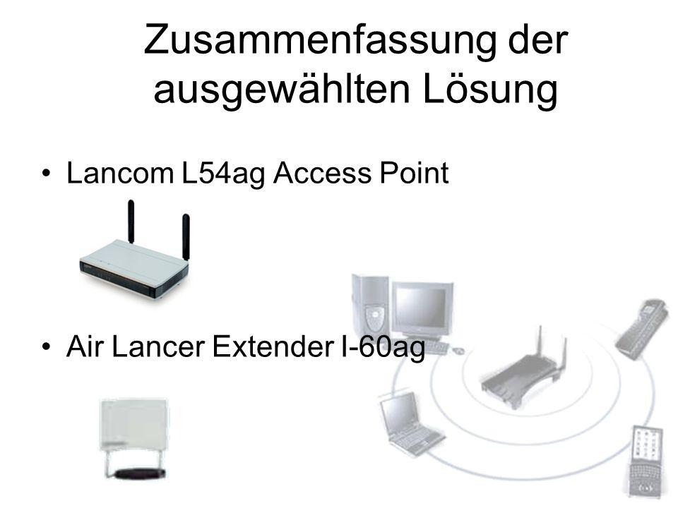 Zusammenfassung der ausgewählten Lösung Lancom L54ag Access Point Air Lancer Extender I-60ag